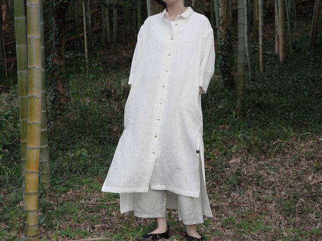 〜ゆったりリネンワンピース〜 尾州織フルレングス丈 ホワイトの画像1枚目
