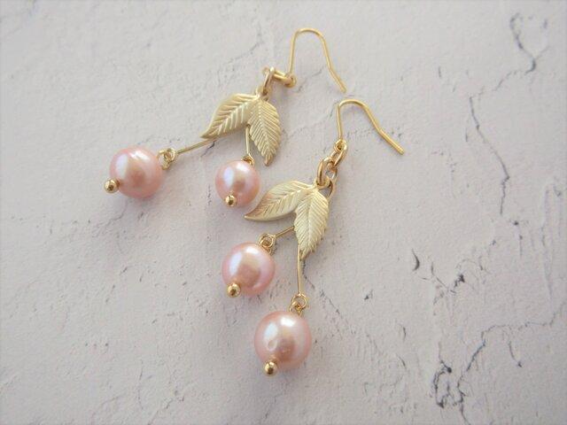 金具変更OK Pierces or Earrings 淡水パール さくらんぼ(P0965)の画像1枚目