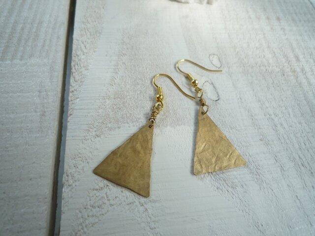 ひらひら■三角 真鍮ピアス フック、イヤリング14kgfに変更もの画像1枚目