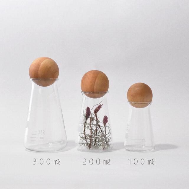 フラスコ(100㎖)と木球の画像1枚目