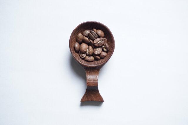 木のコーヒービーンスプーン(チーク)A023-0の画像1枚目