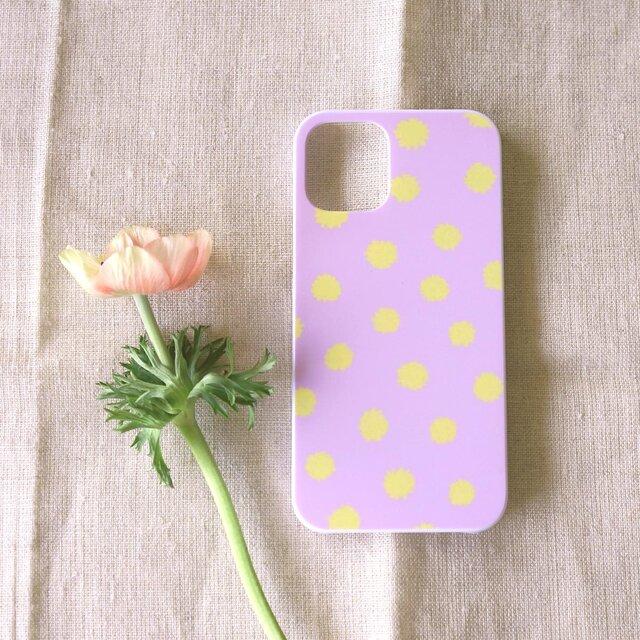 【iPhone / Android】表面のみ印刷*ハード*スマホケース「mimosa dot(lavender&yellow)」の画像1枚目