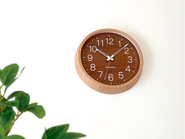 KATOMOKU muku clock 2 ウォールナット文字盤 km-73RC 電波時計 掛け時計の画像1枚目