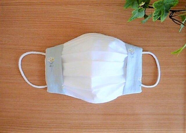 内側接触冷感Wガーゼの夏用マスクカバー(若草色フラワー)の画像1枚目