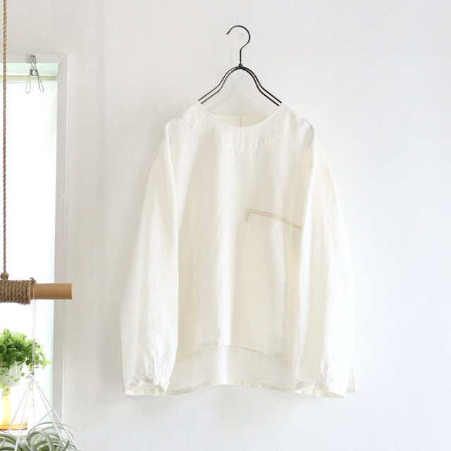 french linen chest pocket top (natural)の画像1枚目