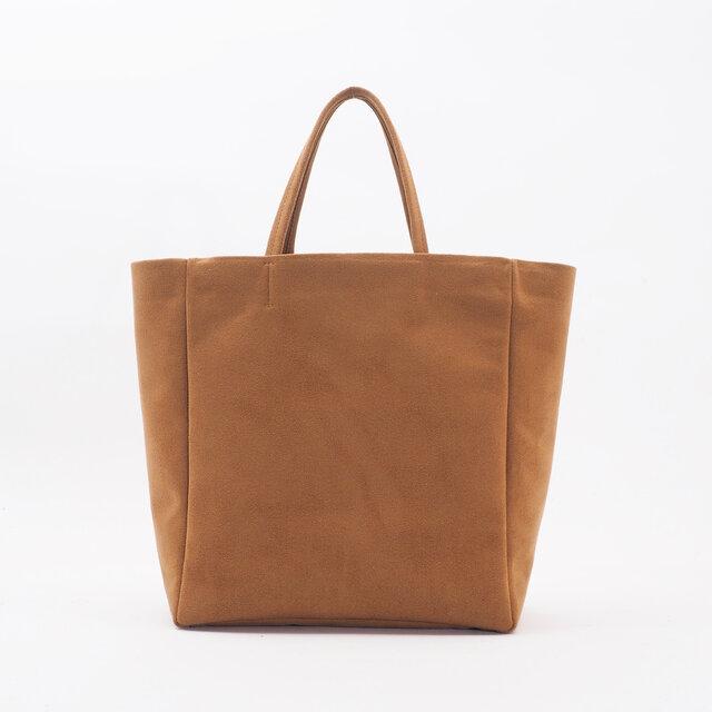light swede handbag L(マスタード)/人工皮革(アルカンタラ)/HB018の画像1枚目