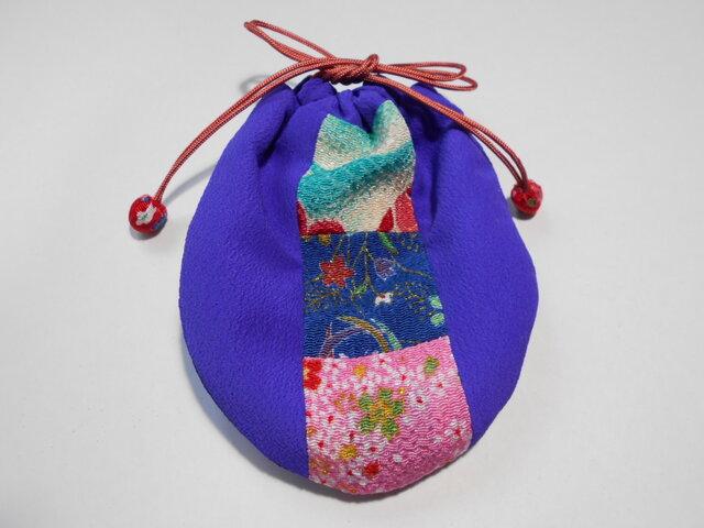 ちりめんパッチのミニ巾着袋/紫・青紺桃の画像1枚目