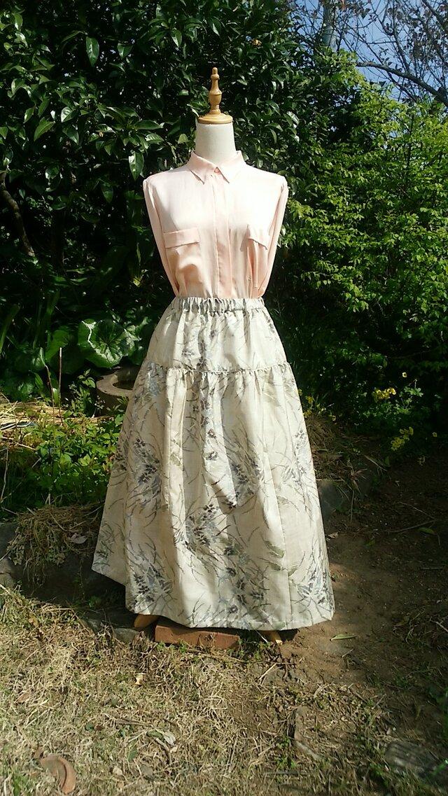 着物リメイク ティアード スカート(絹) 一点品裏付きの画像1枚目