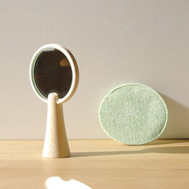 【朝からほっこり】広葉樹のような手鏡/単体/5カラー【DESK TOWN】の画像1枚目