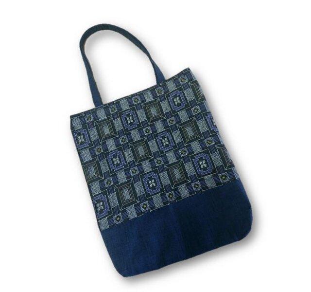 69 大島紬×紬リメイク縦長トートバッグ(黒×紫・四角)の画像1枚目