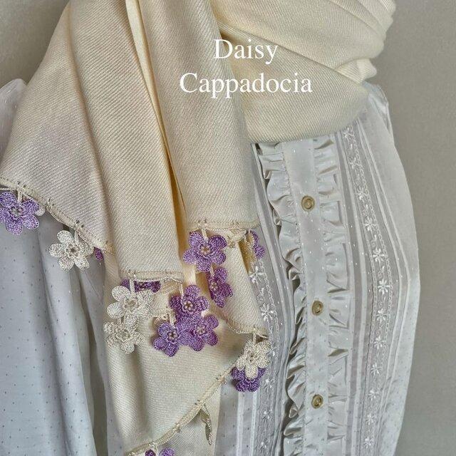 刺繍のお花つき パシュミナストール「マリー」クリームの画像1枚目