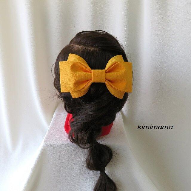 髪飾り 縮緬リボン<大>(山吹)袴・着物・成人式・卒業式・七五三・和装小物の画像1枚目