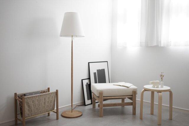 Floor Lamp/oak 照明 ライト フロアランプ オーク 北欧 無垢 リビング インテリア シンプル オブジェの画像1枚目