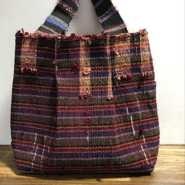 手織りトートバッグ 裂織り タックありの画像1枚目
