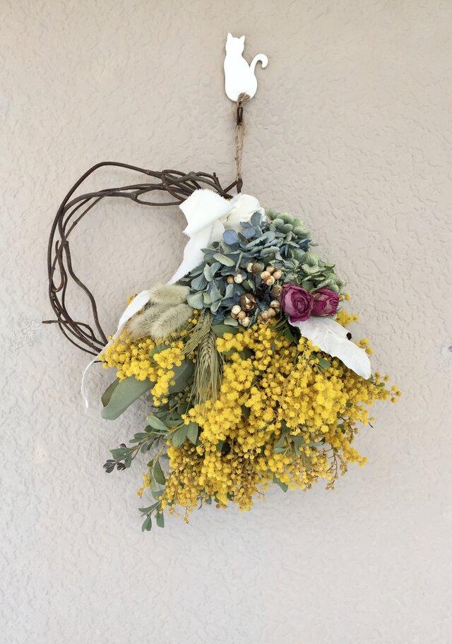 ミモザと紫陽花のハーフリース(ラグラス)母の日の画像1枚目