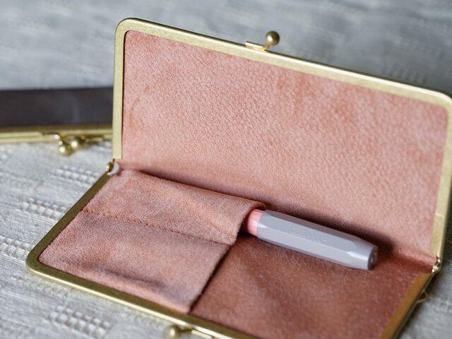 【オーダー品】真鍮使いの口金ペンケース(3本用)/ピンク×アッシュピンクの画像1枚目