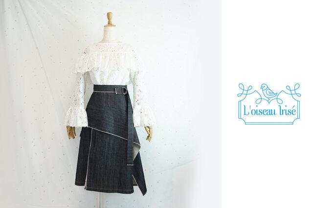 <m様ご注文>セルビッチデニムのブロッキングスカートの画像1枚目