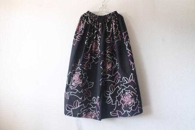 ☆浴衣ミディロングスカート☆薔薇柄♪【再販】/32ys01の画像1枚目