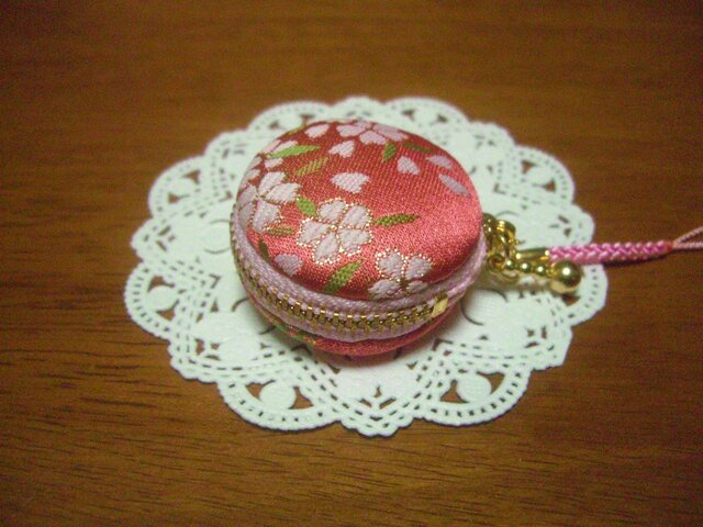 再販 kimonoマカロンポーチ☆桜の画像1枚目