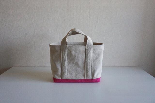 TOTE BAG -bicolor- (M) / ecru × pinkの画像1枚目