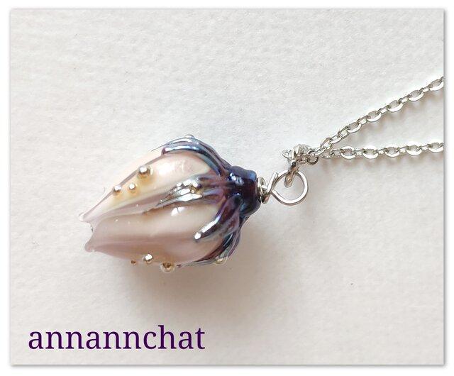 【 ヨーロッパ製 薔薇(バラ)ランプワーク ネックレス】ペールローズ 紫の画像1枚目