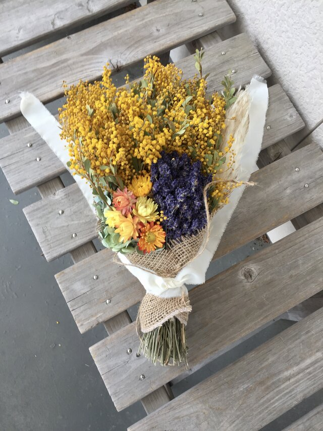 セール ミモザとラベンダーの花束 母の日の画像1枚目