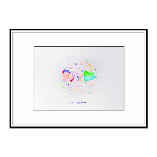 「ゴロンと横になったら見えた景色」 ほっこり癒しのイラストA4サイズポスター No.778の画像1枚目