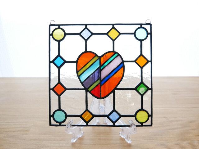 ステンドグラス ミニパネル ドットハート 15cmの画像1枚目