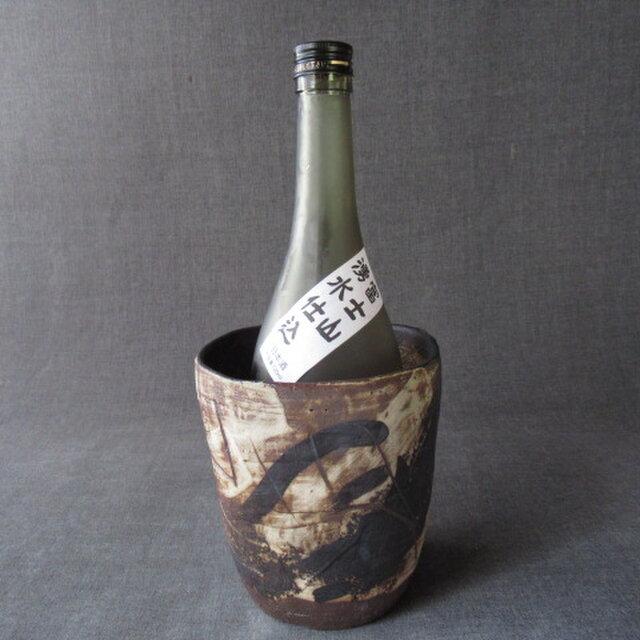 焼締め黒文様ワインクーラー 陶芸家オリジナル陶器(29)の画像1枚目