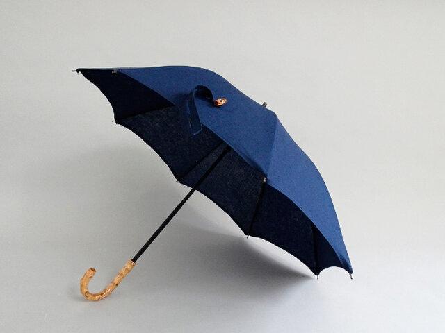 リネン日傘/バンブー持ち手2段階調節<ネイビー>の画像1枚目