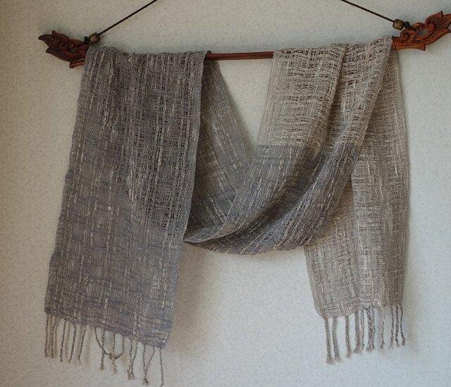 手織りコットンストール・・春色グレーⅱの画像1枚目