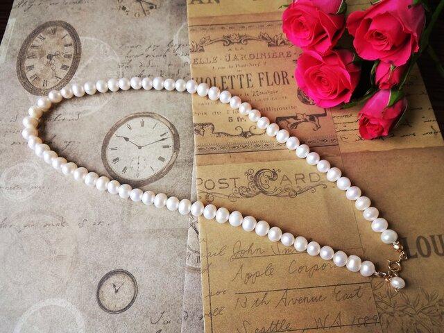 14kgホワイト淡水真珠ネックレスの画像1枚目