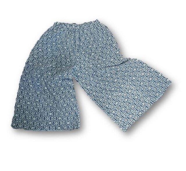 82 小紋柄着物リメイクキュロットパンツ(青・小紋柄)の画像1枚目