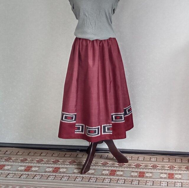 着物リメイク♪ワイン色・泥大島紬と銘仙の2枚からのスカート:丈78cm(裏地付き)の画像1枚目