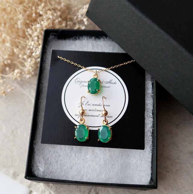【14kgf】宝石質グリーンオニキスのピアス&ネックレスセット(オーバルファセットカット)の画像1枚目