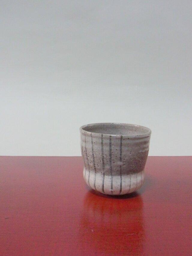 ゆのみ 陶器(大)下粉引き縞の画像1枚目