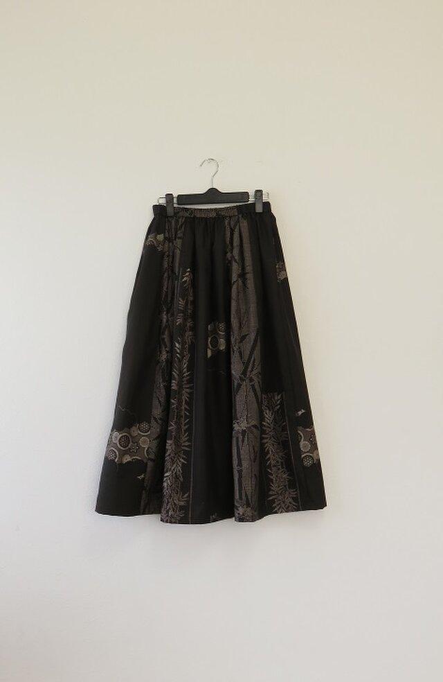 期間限定3000円OFF SALE*アンティーク着物*泥大島紬のパッチスカート(9マルキ・5マルキ、裏地付き)の画像1枚目
