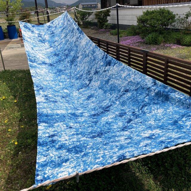 藍染、5.2m、生地、麻(リネン)100%、国産142cm巾の画像1枚目