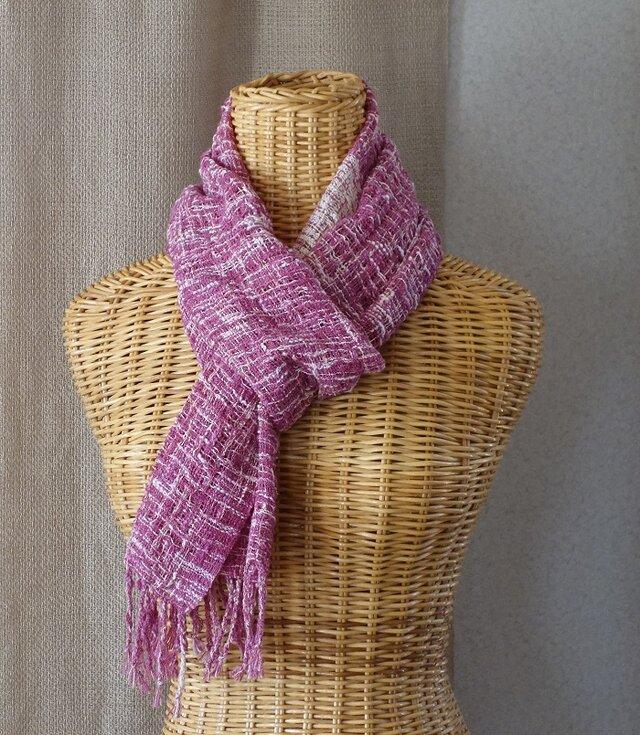 手織りコットンストール・・アザレアの画像1枚目
