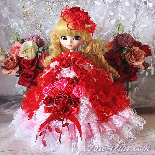 薔薇の花園 深紅に咲き誇る魅惑のバブルフォルム ボリュームフリルドレスの画像1枚目