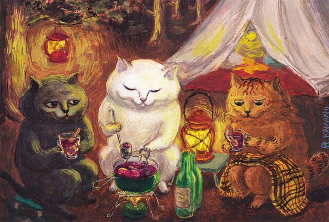 カマノレイコ オリジナル猫ポストカード「ホットワイン」2枚セットの画像1枚目