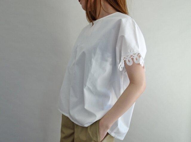 ケミカルレース袖cottonプルオーバーの画像1枚目