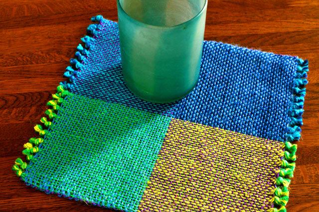 手織り 二重織によるカラーリネンのミニマット(№1)の画像1枚目