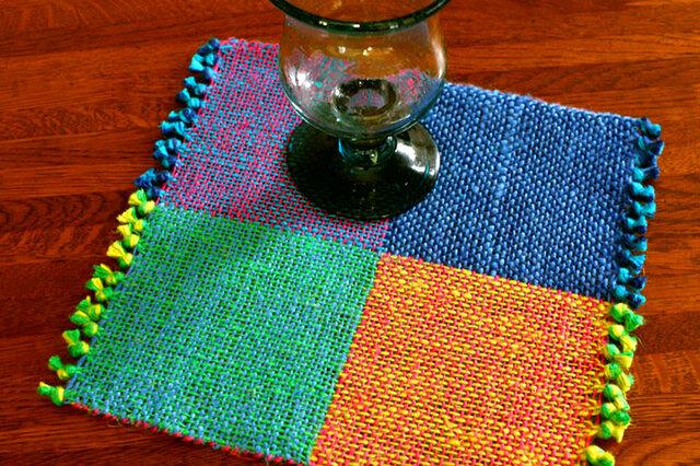手織り 二重織によるカラーリネンのミニマット(№2)の画像1枚目