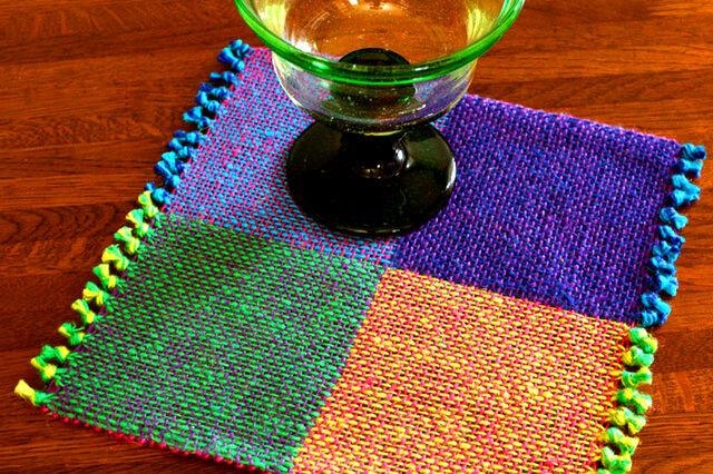手織り 二重織によるカラーリネンのミニマット(№3)の画像1枚目