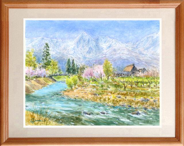 水彩画原画 北信濃の春 #460の画像1枚目