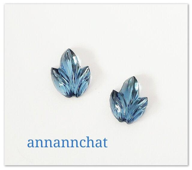 【1950年代 ビンテージ 西ドイツ製ガラス leaf 葉っぱ ブルー 碧 ピアス】 の画像1枚目