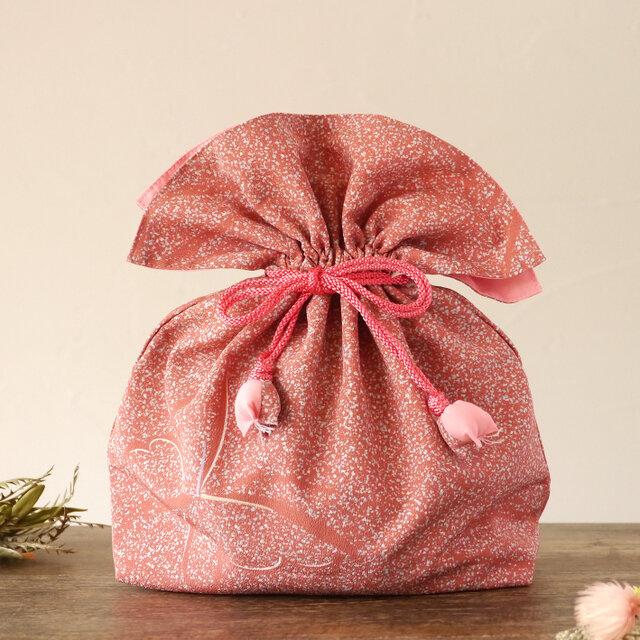 着物 巾着 蝶文 幸せを呼ぶFUGURO 大サイズ の画像1枚目