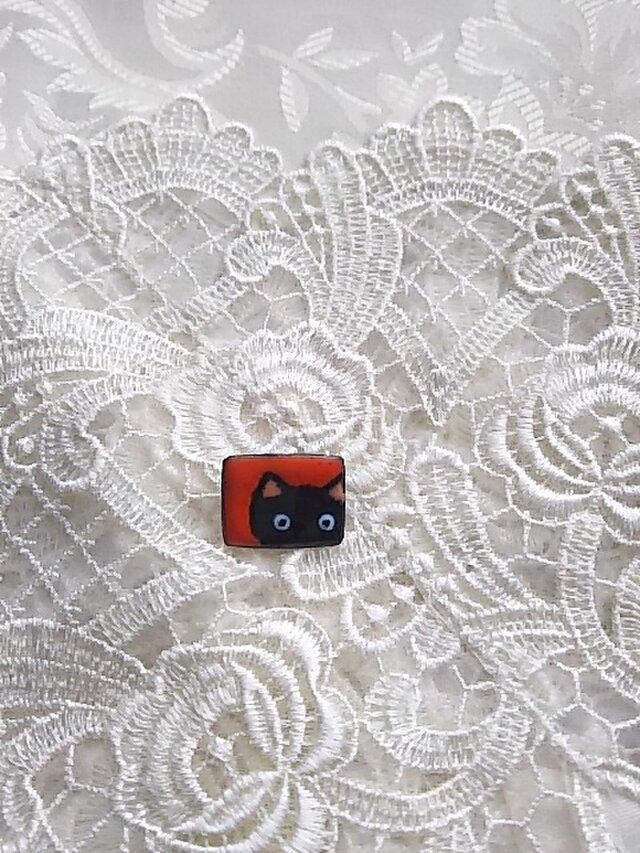 七宝 ちっちゃく可愛く黒猫ブローチの画像1枚目