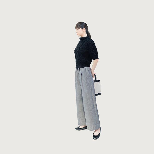 グレーデニムでシックに 岡山デニム ライトグレー ワイドパンツ ●SILS●の画像1枚目